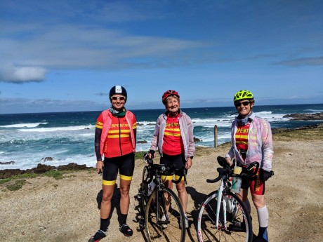 Aga, Hilary and Margaret on a recce ride in Sardinia Bay