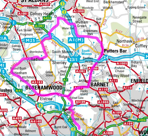Hertfordshire 50k cycle route map