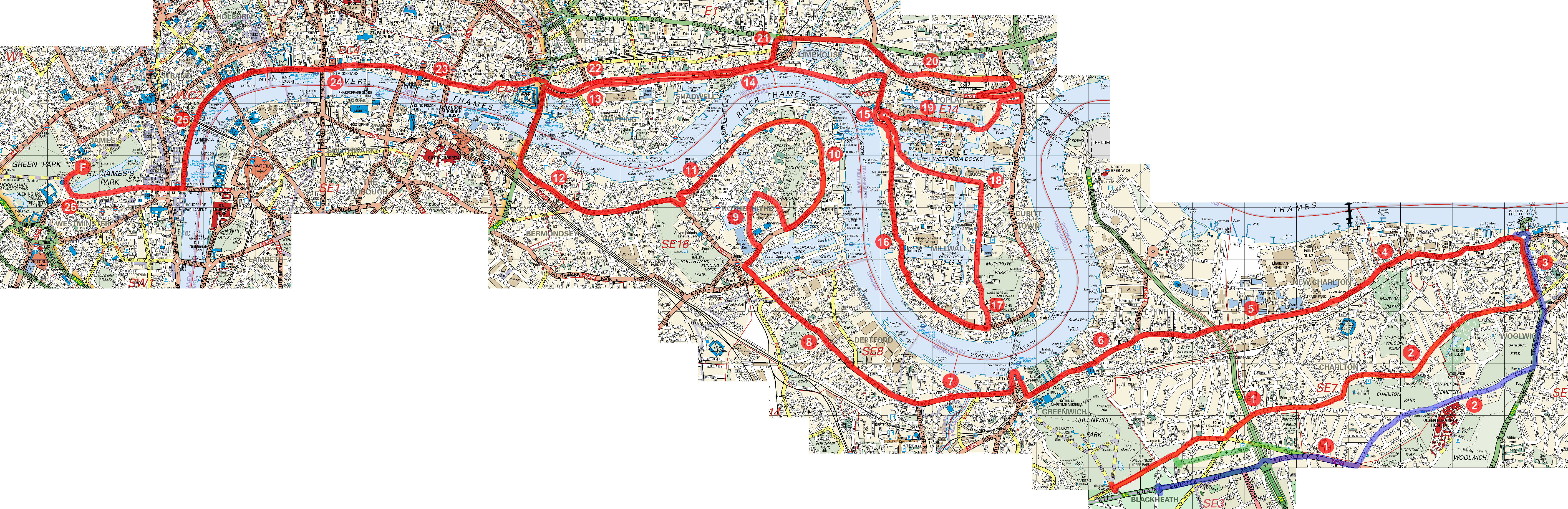 serpentine running club - running - course map