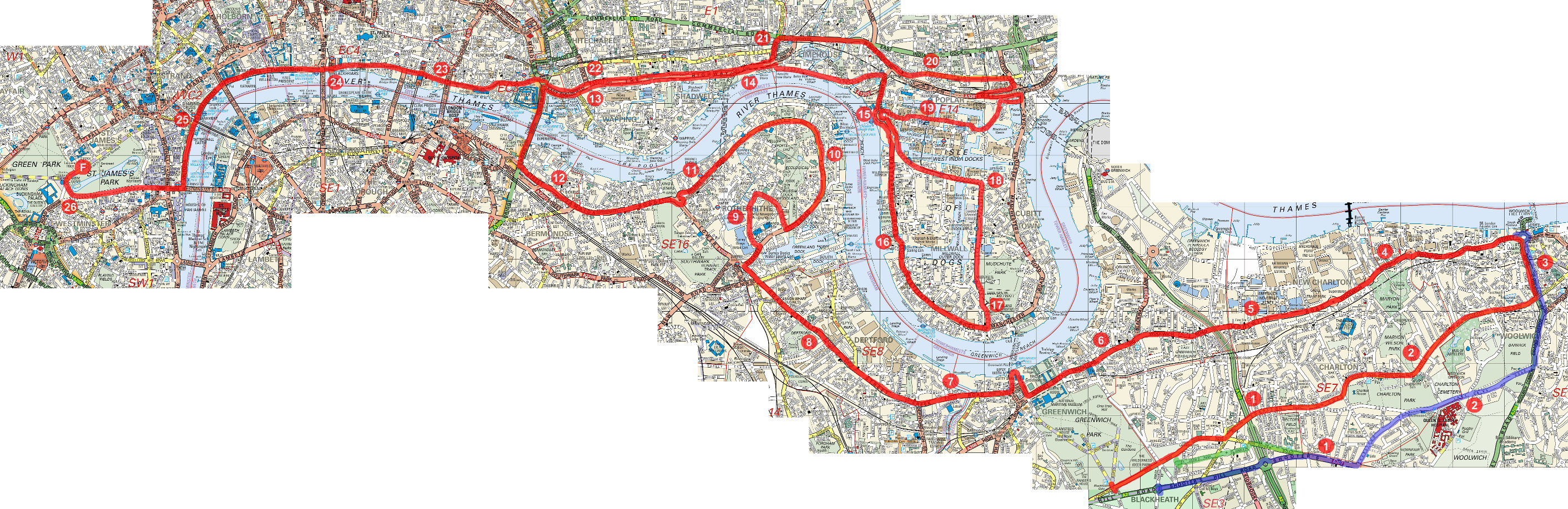 London Marathon course map