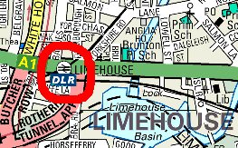 Map of Limehouse DLR