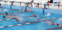 Lanzarote swimmers in pool