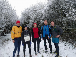 Serpie trail runners having fun in the snow