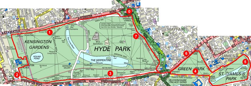 Map of Three Parks - Daylight Route