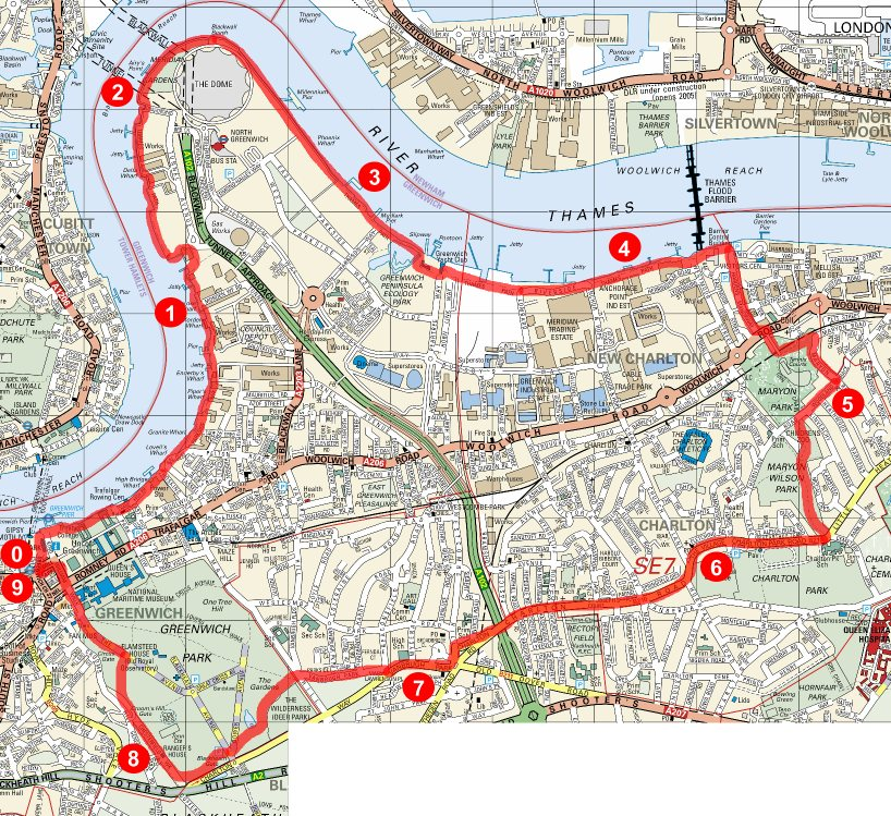 Greenwich route map