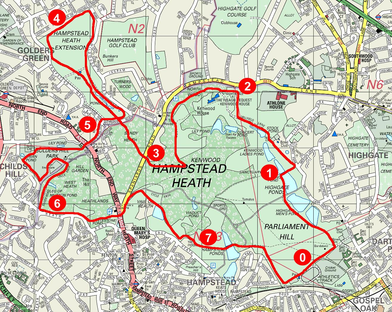 Hampstead Heath Map Serpentine Running Club   Running   Hampstead Heath Hampstead Heath Map