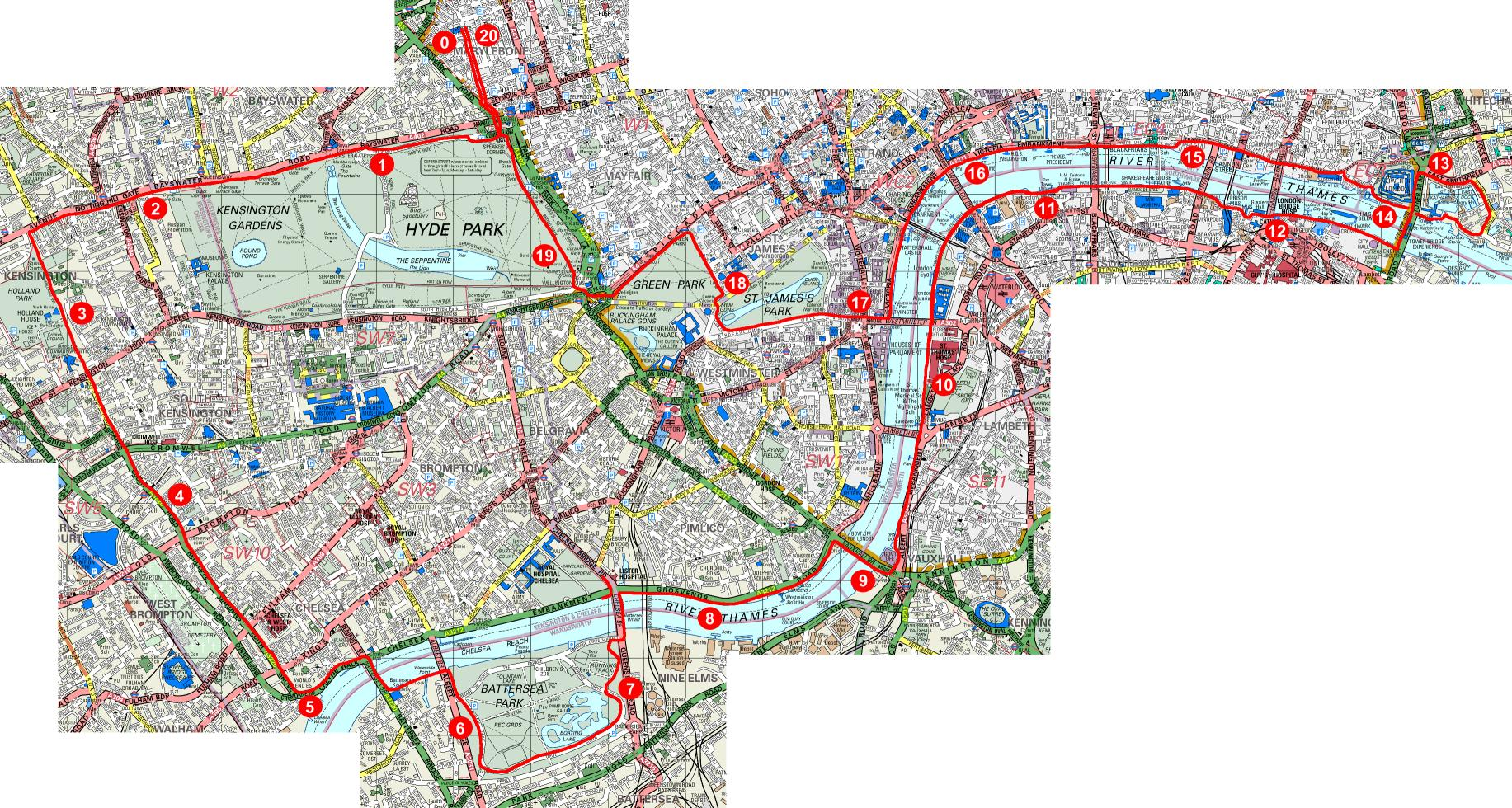 Kensington, Battersea and Tower route map